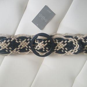 NWT Anthropologie black beige weave belt